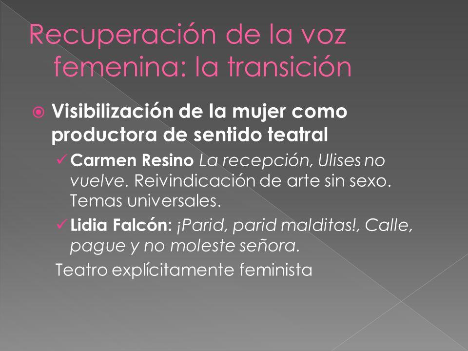 Visibilización de la mujer como productora de sentido teatral Carmen Resino La recepción, Ulises no vuelve. Reivindicación de arte sin sexo. Temas uni