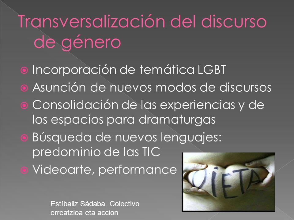 Incorporación de temática LGBT Asunción de nuevos modos de discursos Consolidación de las experiencias y de los espacios para dramaturgas Búsqueda de