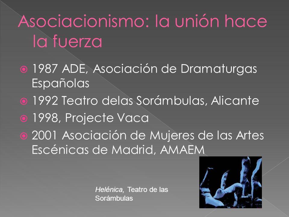 1987 ADE, Asociación de Dramaturgas Españolas 1992 Teatro delas Sorámbulas, Alicante 1998, Projecte Vaca 2001 Asociación de Mujeres de las Artes Escén