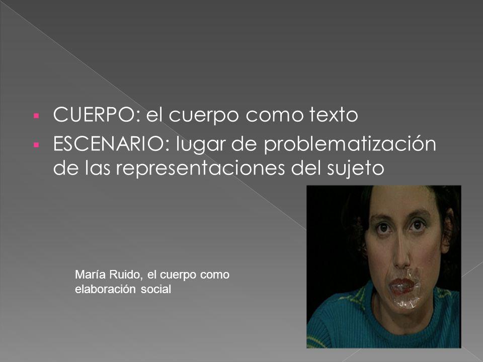 CUERPO: el cuerpo como texto ESCENARIO: lugar de problematización de las representaciones del sujeto María Ruido, el cuerpo como elaboración social