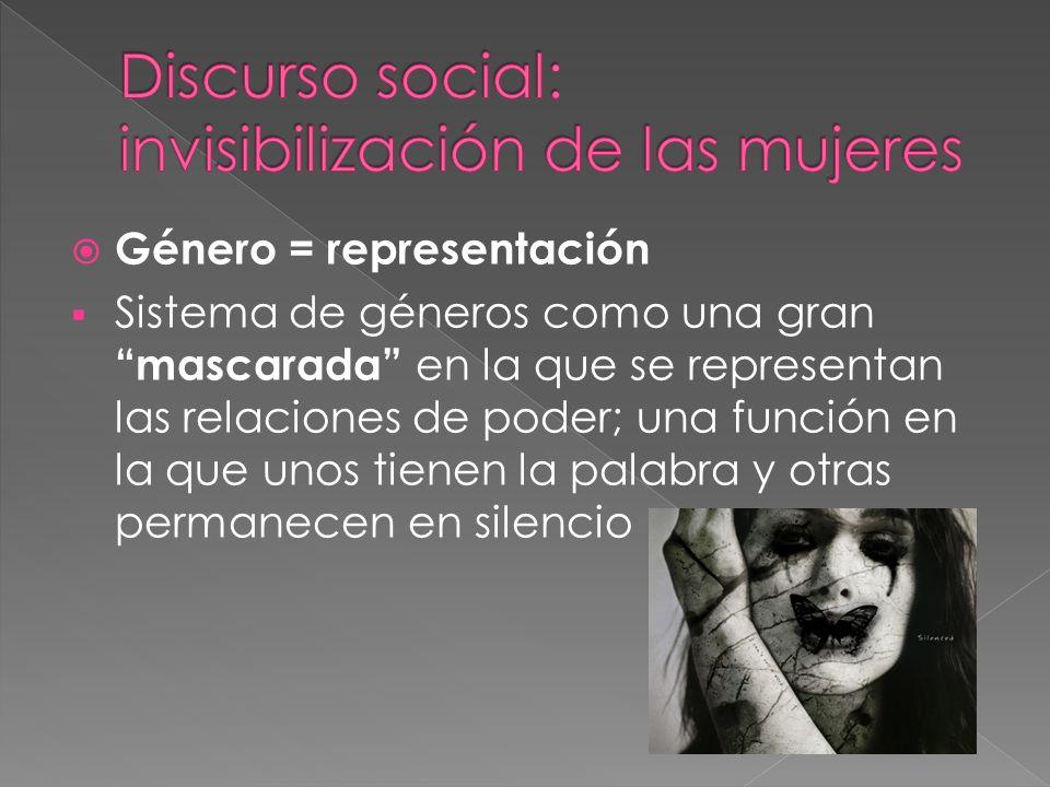 Género = representación Sistema de géneros como una gran mascarada en la que se representan las relaciones de poder; una función en la que unos tienen