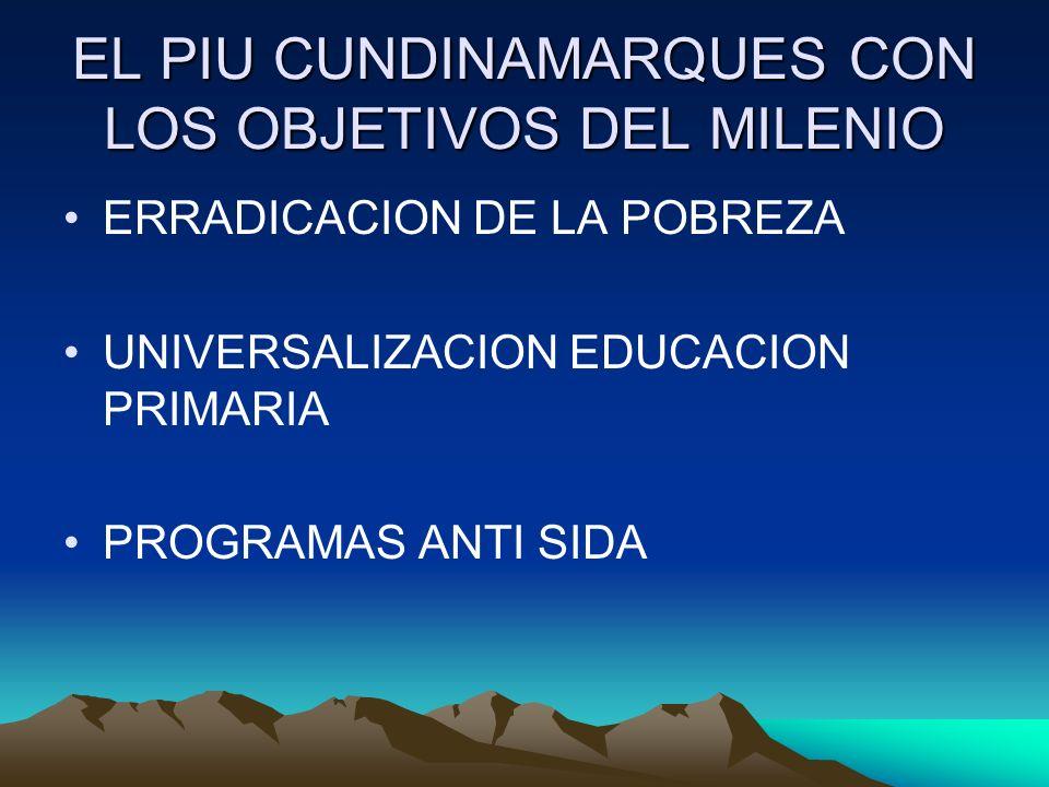 EL PIU CUNDINAMARQUES CON LOS OBJETIVOS DEL MILENIO ERRADICACION DE LA POBREZA UNIVERSALIZACION EDUCACION PRIMARIA PROGRAMAS ANTI SIDA