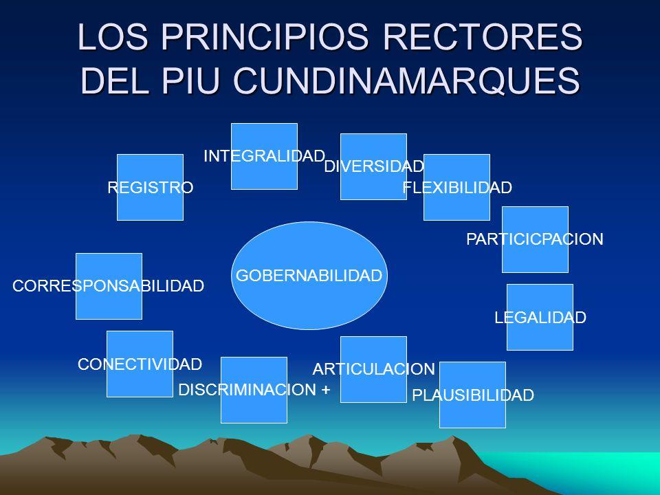 LOS PRINCIPIOS RECTORES DEL PIU CUNDINAMARQUES GOBERNABILIDAD DIVERSIDAD CORRESPONSABILIDAD CONECTIVIDAD DISCRIMINACION + PLAUSIBILIDAD ARTICULACION LEGALIDAD REGISTRO INTEGRALIDAD FLEXIBILIDAD PARTICICPACION