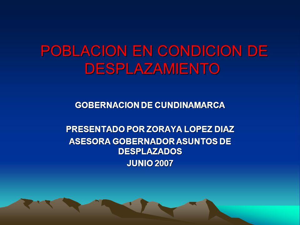 POBLACION EN CONDICION DE DESPLAZAMIENTO POBLACION EN CONDICION DE DESPLAZAMIENTO GOBERNACION DE CUNDINAMARCA PRESENTADO POR ZORAYA LOPEZ DIAZ ASESORA GOBERNADOR ASUNTOS DE DESPLAZADOS JUNIO 2007