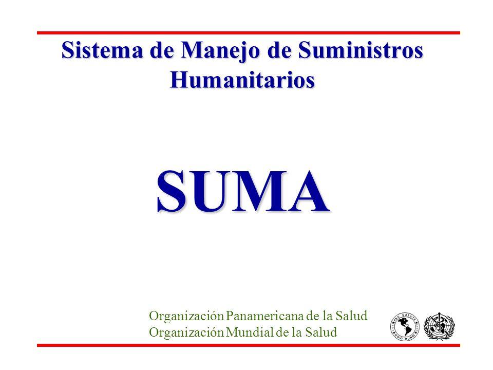 Sistema de Manejo de Suministros Humanitarios SUMA Organización Panamericana de la Salud Organización Mundial de la Salud