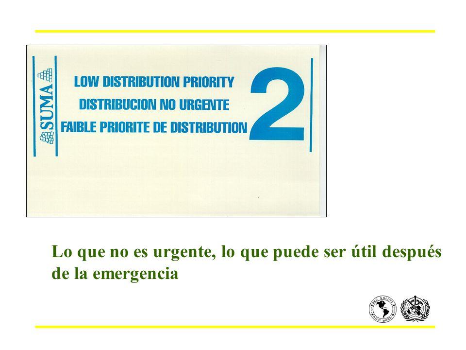 Lo que no es urgente, lo que puede ser útil después de la emergencia