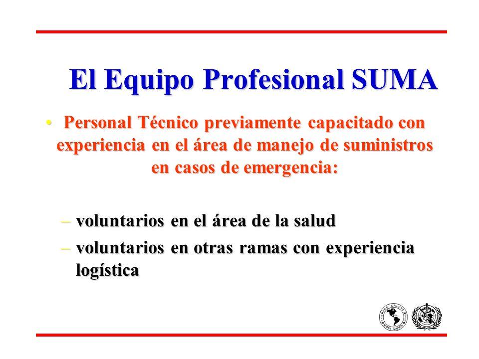 El Equipo Profesional SUMA Personal Técnico previamente capacitado con experiencia en el área de manejo de suministros en casos de emergencia:Personal
