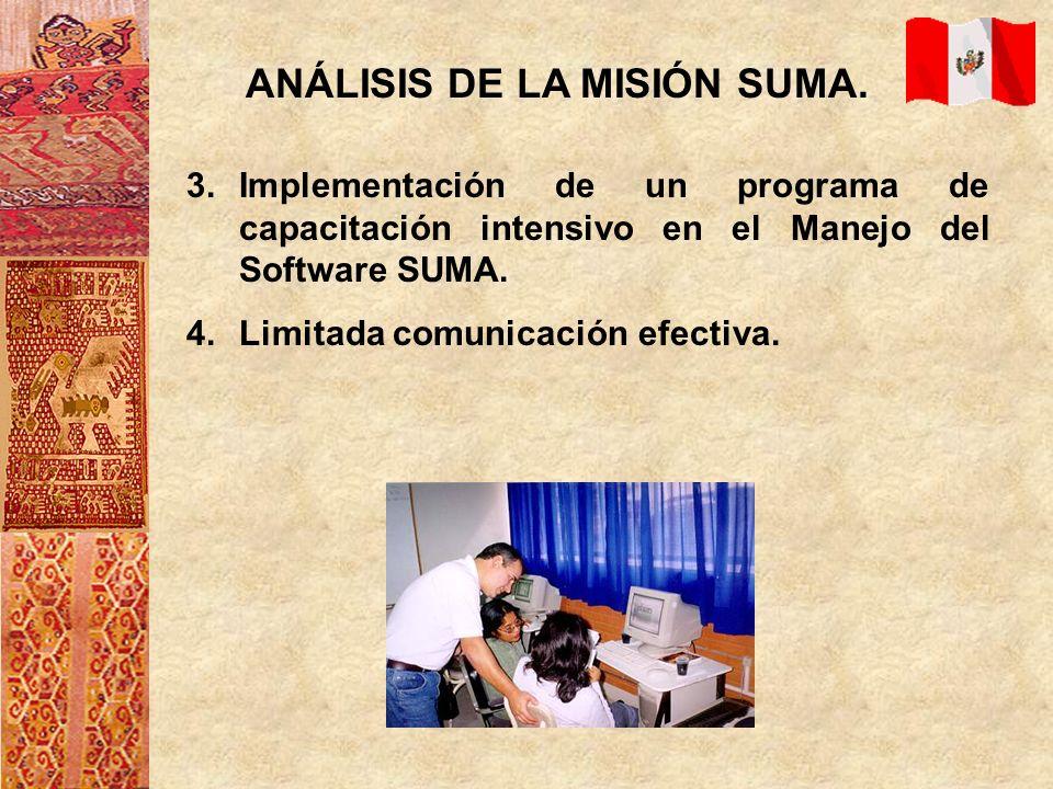 ANÁLISIS DE LA MISIÓN SUMA. 3.Implementación de un programa de capacitación intensivo en el Manejo del Software SUMA. 4.Limitada comunicación efectiva