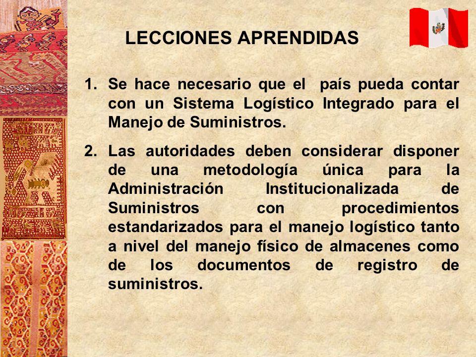 LECCIONES APRENDIDAS 1.Se hace necesario que el país pueda contar con un Sistema Logístico Integrado para el Manejo de Suministros. 2.Las autoridades