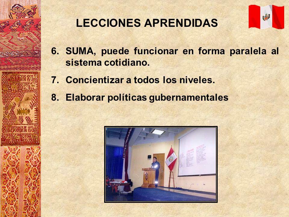 LECCIONES APRENDIDAS 6.SUMA, puede funcionar en forma paralela al sistema cotidiano. 7.Concientizar a todos los niveles. 8.Elaborar políticas gubernam