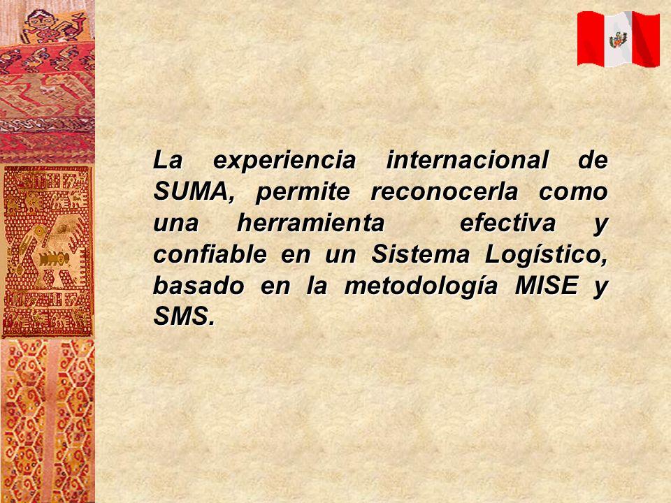 La experiencia internacional de SUMA, permite reconocerla como una herramienta efectiva y confiable en un Sistema Logístico, basado en la metodología