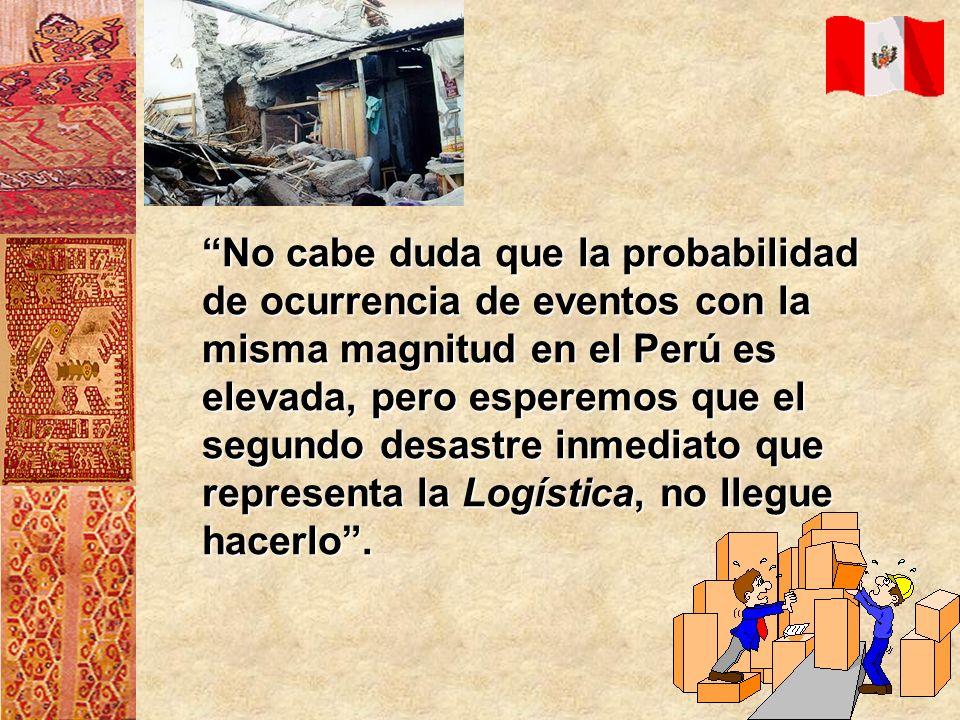 No cabe duda que la probabilidad de ocurrencia de eventos con la misma magnitud en el Perú es elevada, pero esperemos que el segundo desastre inmediat
