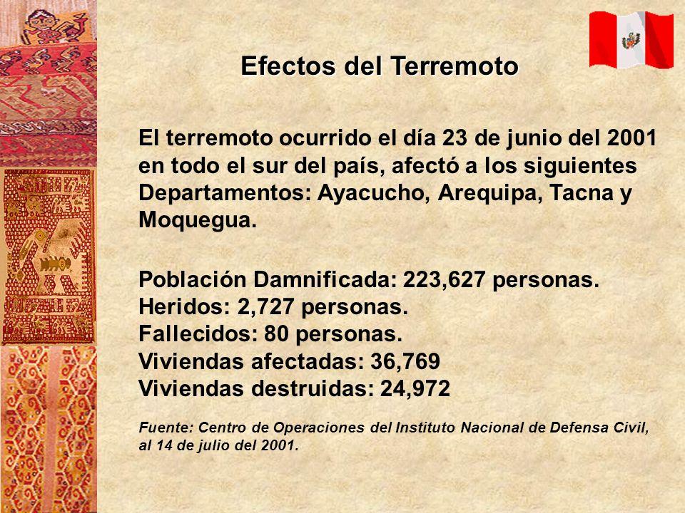 El terremoto ocurrido el día 23 de junio del 2001 en todo el sur del país, afectó a los siguientes Departamentos: Ayacucho, Arequipa, Tacna y Moquegua