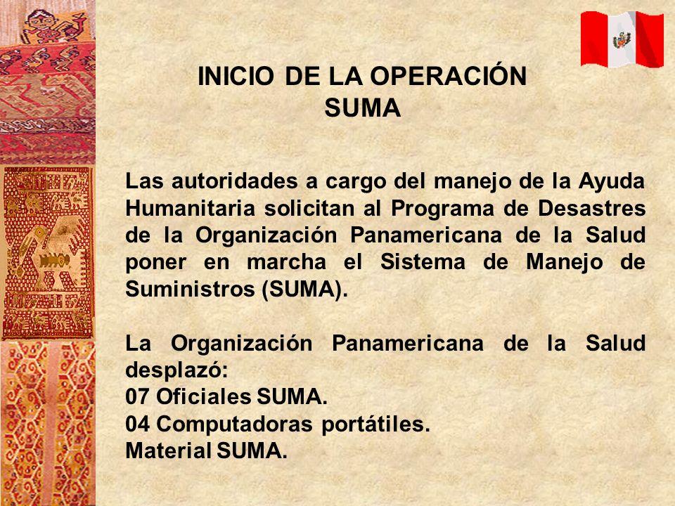 OBJETIVO DE LA MISION SUMA Brindar asesoría técnica en la organización, almacenamiento, distribución, abastecimiento y transporte del Manejo de Suministros en Desastres.