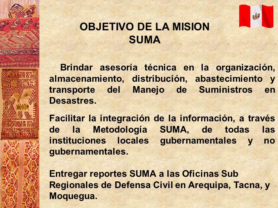 OBJETIVO DE LA MISION SUMA Brindar asesoría técnica en la organización, almacenamiento, distribución, abastecimiento y transporte del Manejo de Sumini