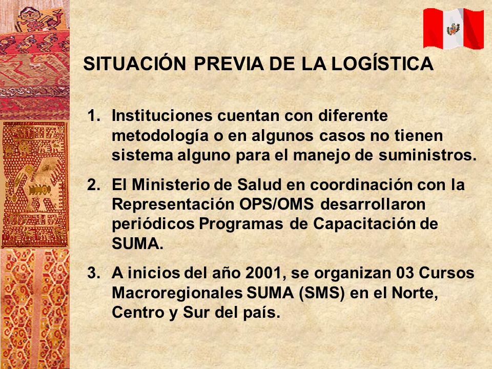 LECCIONES APRENDIDAS 1.Se hace necesario que el país pueda contar con un Sistema Logístico Integrado para el Manejo de Suministros.