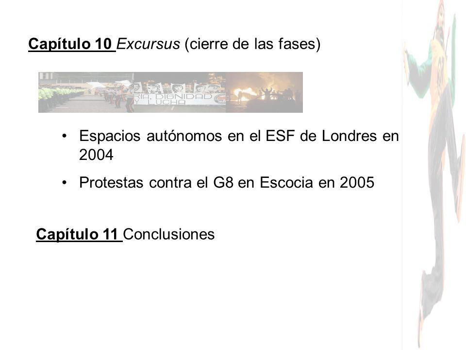 Capítulo 10 Excursus (cierre de las fases) Espacios autónomos en el ESF de Londres en 2004 Protestas contra el G8 en Escocia en 2005 Capítulo 11 Concl