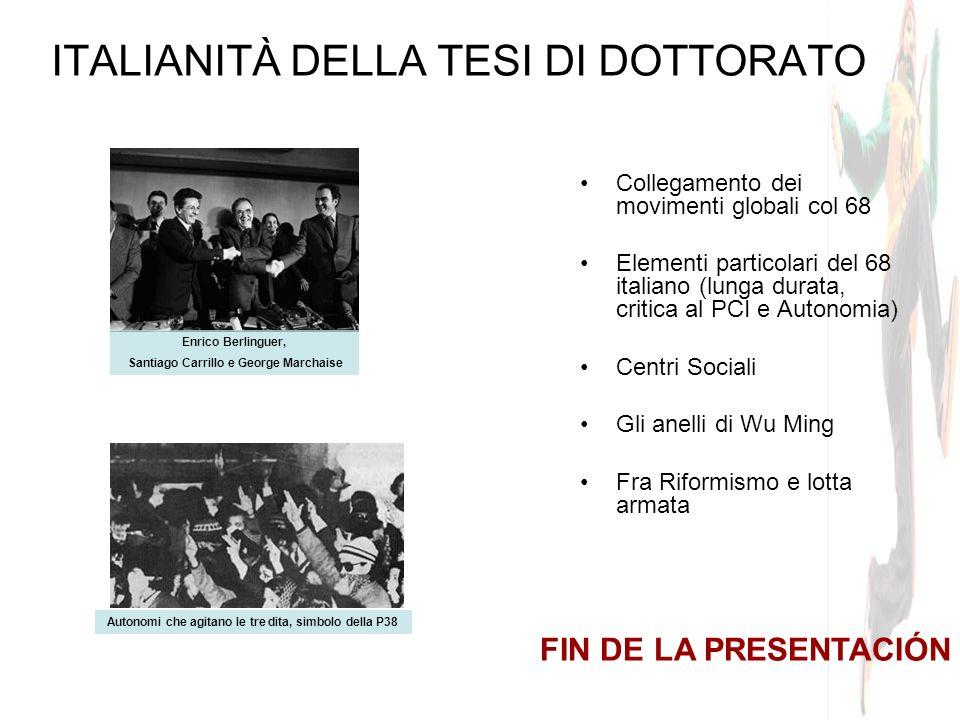 ITALIANITÀ DELLA TESI DI DOTTORATO Collegamento dei movimenti globali col 68 Elementi particolari del 68 italiano (lunga durata, critica al PCI e Auto