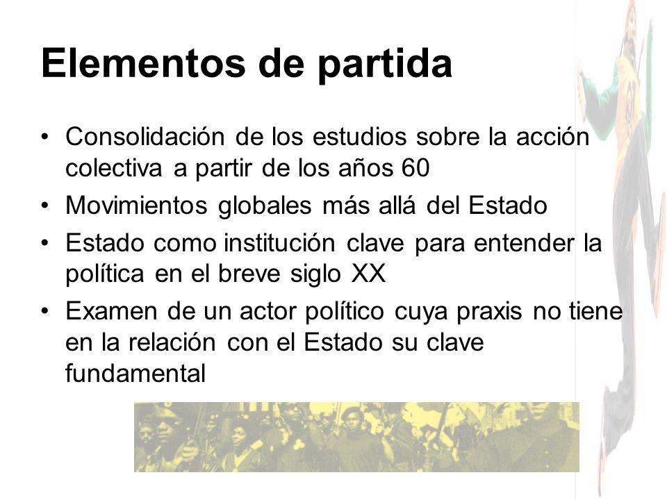 Consolidación de los estudios sobre la acción colectiva a partir de los años 60 Movimientos globales más allá del Estado Estado como institución clave