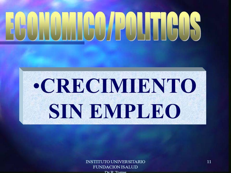 INSTITUTO UNIVERSITARIO FUNDACION ISALUD Dr.R.Torres 11 CRECIMIENTO SIN EMPLEO