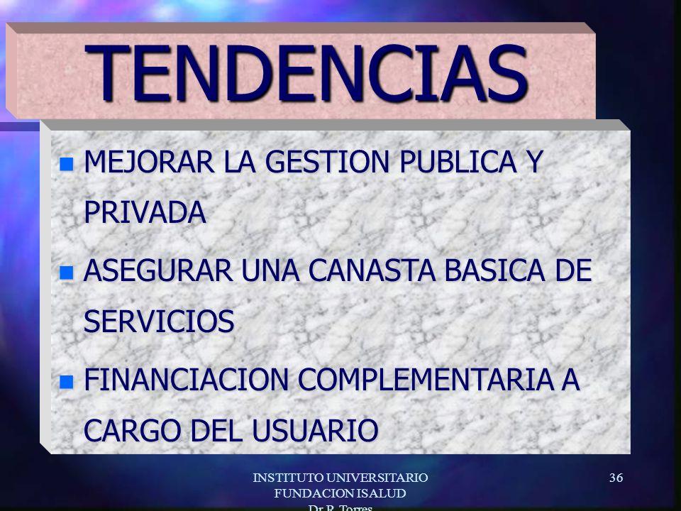 INSTITUTO UNIVERSITARIO FUNDACION ISALUD Dr.R.Torres 36 n MEJORAR LA GESTION PUBLICA Y PRIVADA n ASEGURAR UNA CANASTA BASICA DE SERVICIOS n FINANCIACION COMPLEMENTARIA A CARGO DEL USUARIO TENDENCIAS