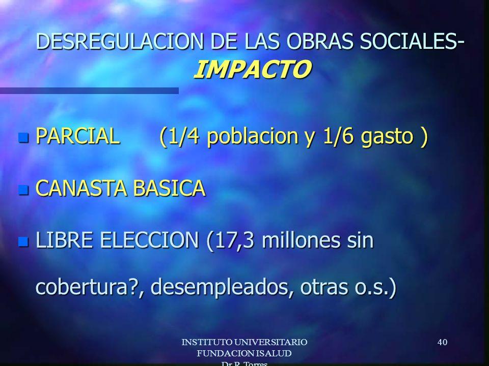 INSTITUTO UNIVERSITARIO FUNDACION ISALUD Dr.R.Torres 40 DESREGULACION DE LAS OBRAS SOCIALES- IMPACTO n PARCIAL (1/4 poblacion y 1/6 gasto ) n CANASTA BASICA n LIBRE ELECCION (17,3 millones sin cobertura , desempleados, otras o.s.)