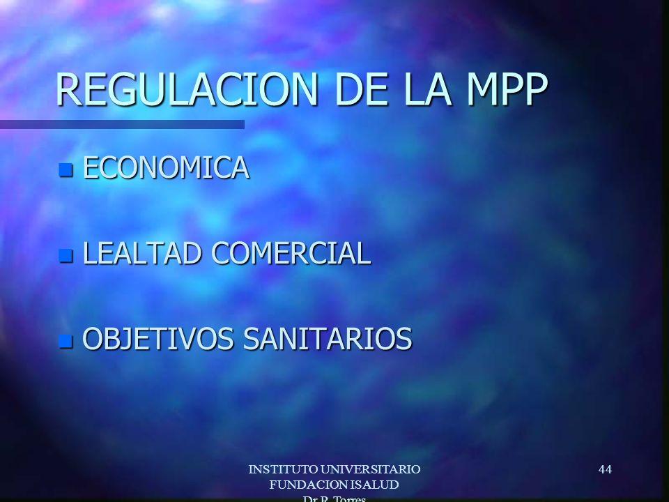 INSTITUTO UNIVERSITARIO FUNDACION ISALUD Dr.R.Torres 44 REGULACION DE LA MPP n ECONOMICA n LEALTAD COMERCIAL n OBJETIVOS SANITARIOS