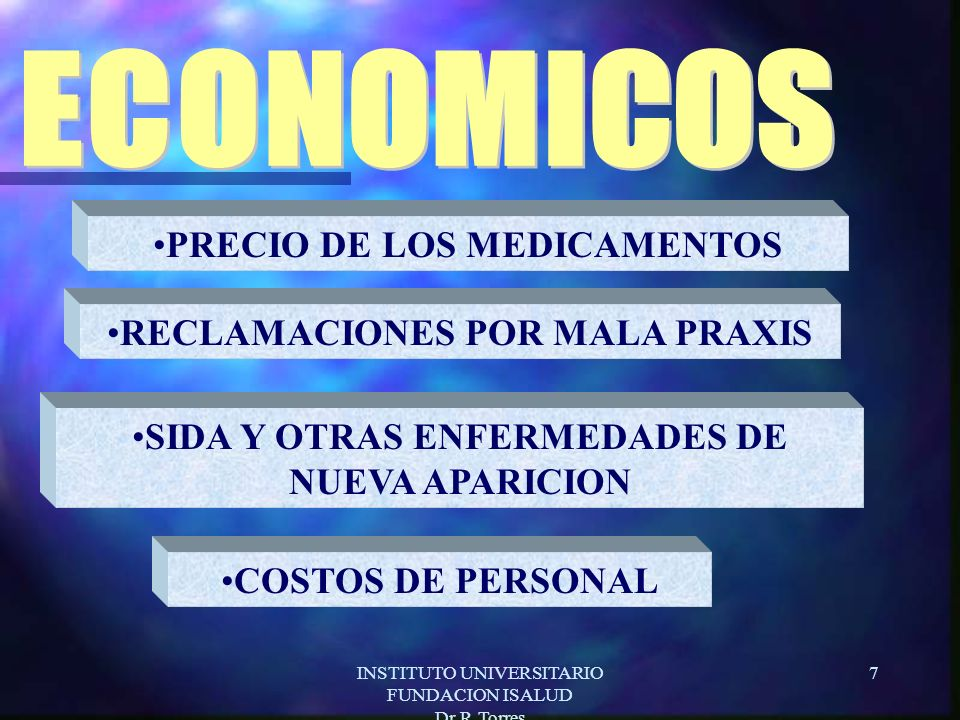 INSTITUTO UNIVERSITARIO FUNDACION ISALUD Dr.R.Torres 7 COSTOS DE PERSONAL PRECIO DE LOS MEDICAMENTOS RECLAMACIONES POR MALA PRAXIS SIDA Y OTRAS ENFERMEDADES DE NUEVA APARICION