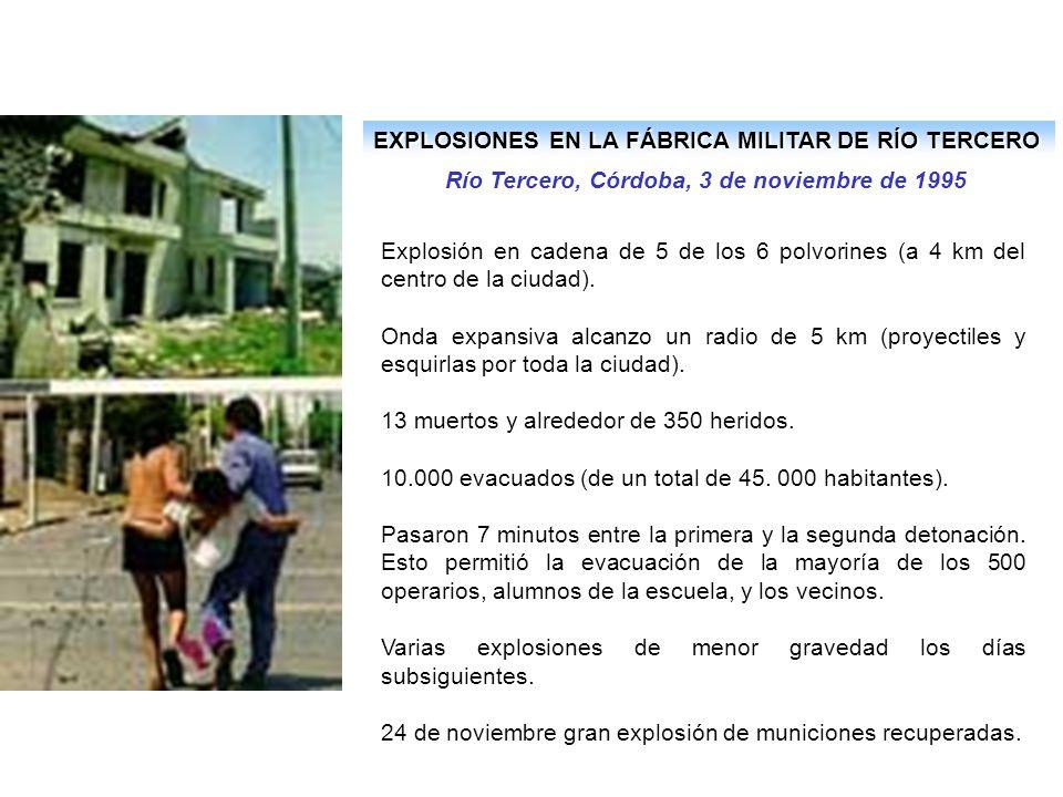 EXPLOSIONES EN LA FÁBRICA MILITAR DE RÍO TERCERO Río Tercero, Córdoba, 3 de noviembre de 1995 Explosión en cadena de 5 de los 6 polvorines (a 4 km del centro de la ciudad).