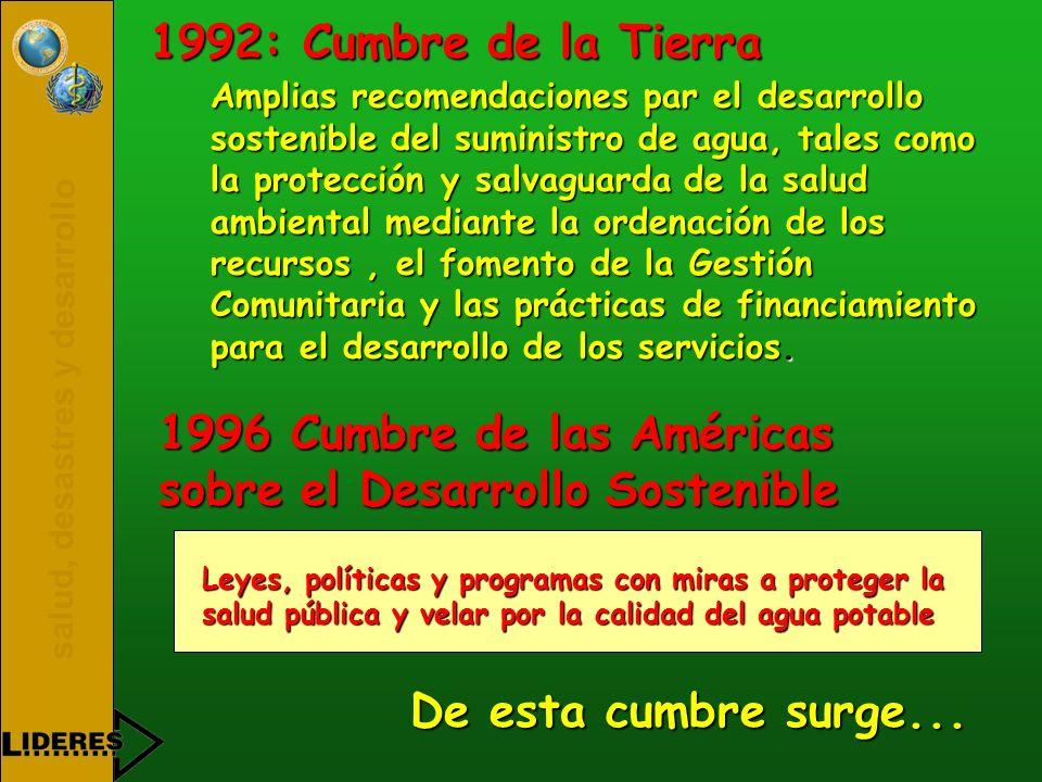 salud, desastres y desarrollo 1996 Cumbre de las Américas sobre el Desarrollo Sostenible Amplias recomendaciones par el desarrollo sostenible del sumi