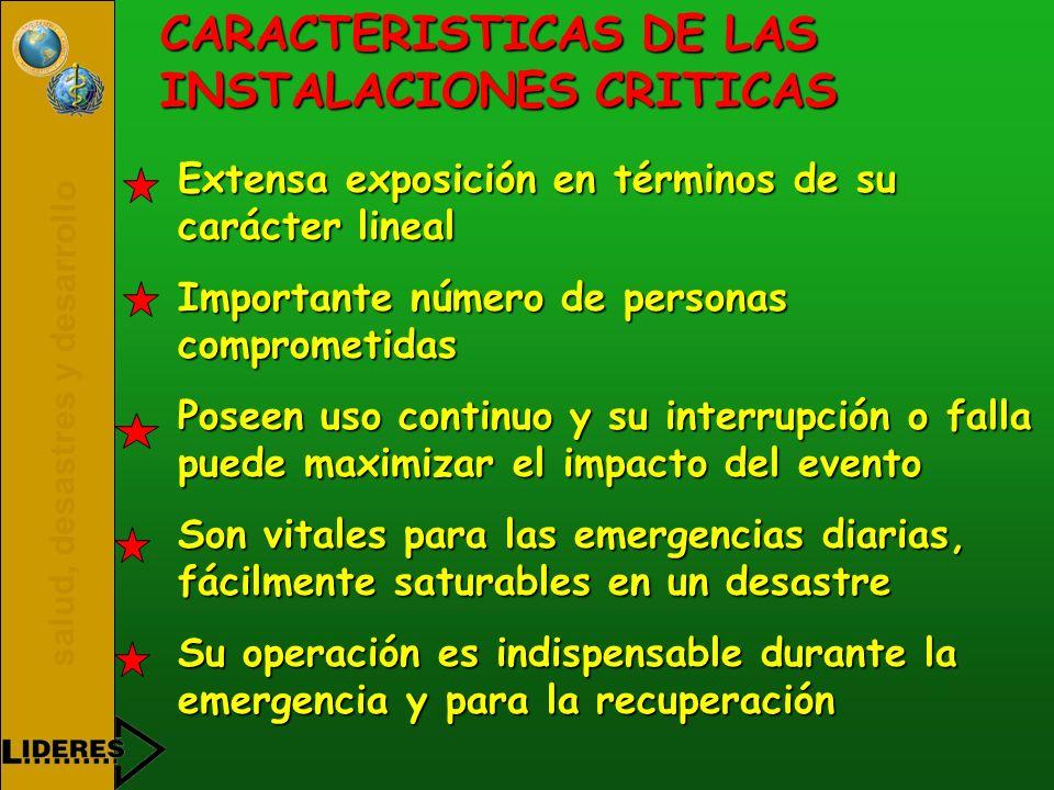 salud, desastres y desarrollo CARACTERISTICAS DE LAS INSTALACIONES CRITICAS Extensa exposición en términos de su carácter lineal Importante número de