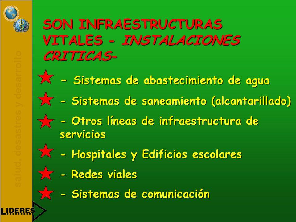 salud, desastres y desarrollo SON INFRAESTRUCTURAS VITALES - INSTALACIONES CRITICAS- - Sistemas de abastecimiento de agua - Sistemas de saneamiento (a