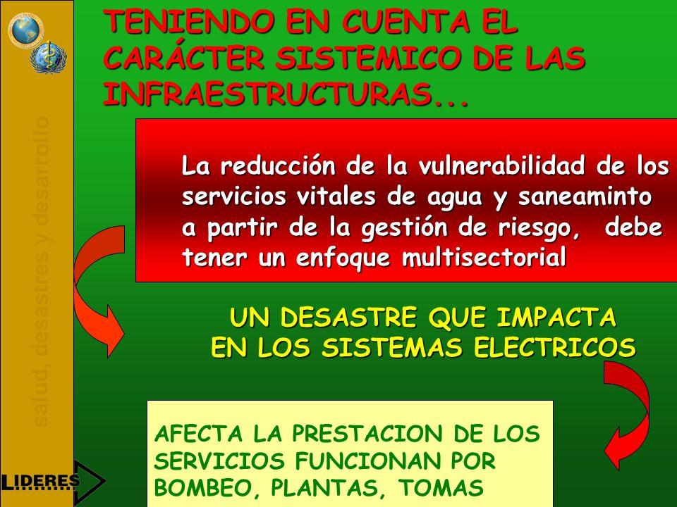 salud, desastres y desarrollo TENIENDO EN CUENTA EL CARÁCTER SISTEMICO DE LAS INFRAESTRUCTURAS... La reducción de la vulnerabilidad de los servicios v