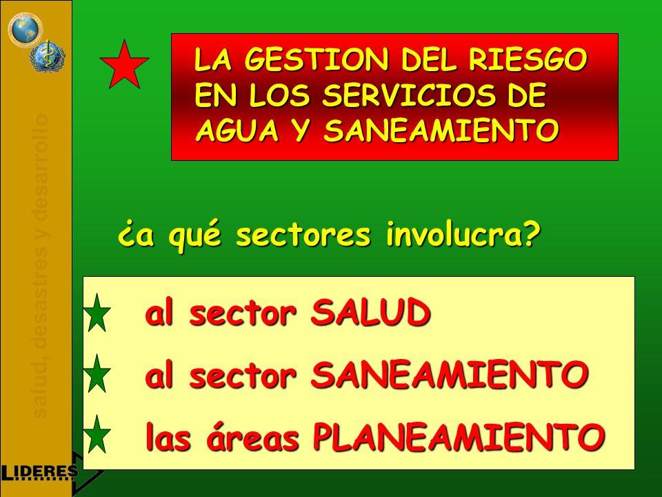 salud, desastres y desarrollo LA GESTION DEL RIESGO EN LOS SERVICIOS DE AGUA Y SANEAMIENTO ¿a qué sectores involucra? al sector SALUD al sector SANEAM