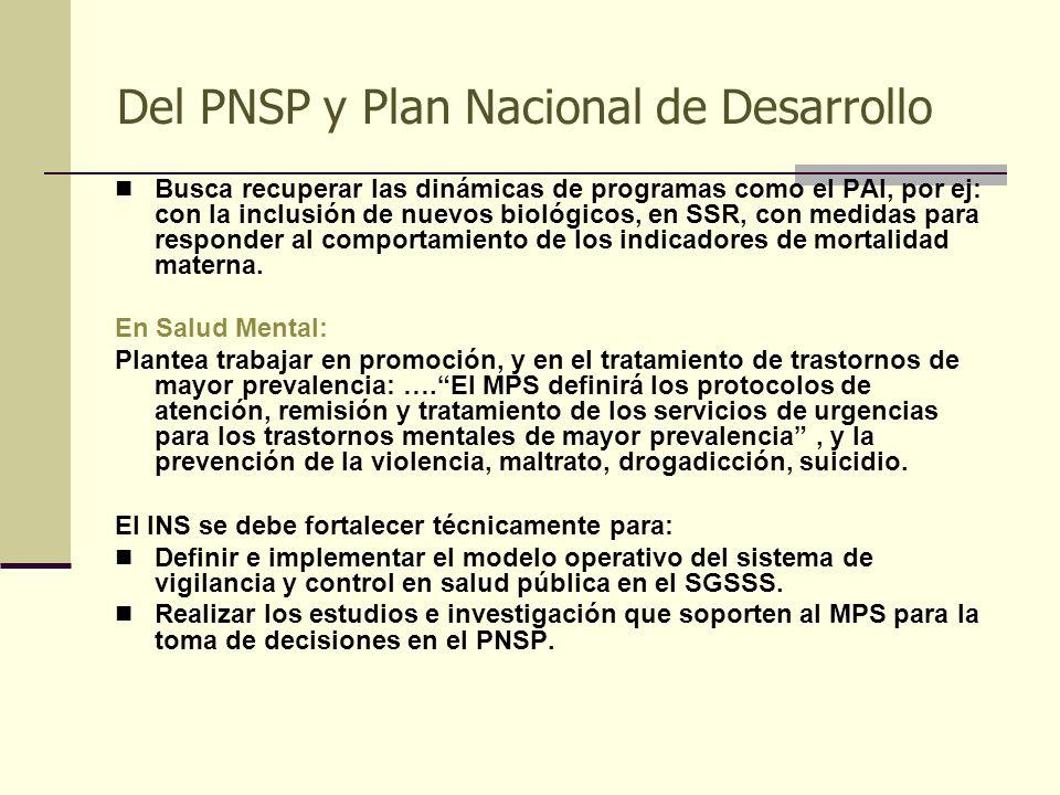 Del PNSP y Plan Nacional de Desarrollo Busca recuperar las dinámicas de programas como el PAI, por ej: con la inclusión de nuevos biológicos, en SSR,