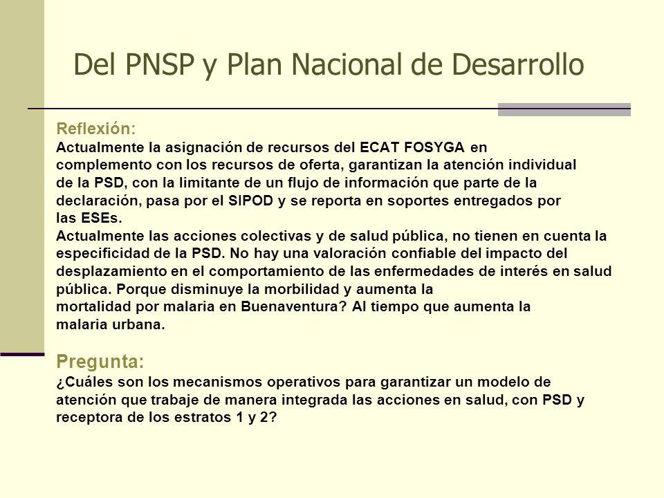 Del PNSP y Plan Nacional de Desarrollo Reflexión: Actualmente la asignación de recursos del ECAT FOSYGA en complemento con los recursos de oferta, gar
