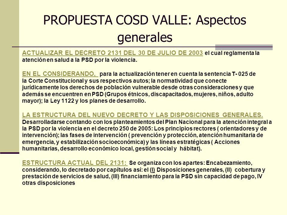 PROPUESTA COSD VALLE: Aspectos generales ACTUALIZAR EL DECRETO 2131 DEL 30 DE JULIO DE 2003 el cual reglamenta la atención en salud a la PSD por la vi