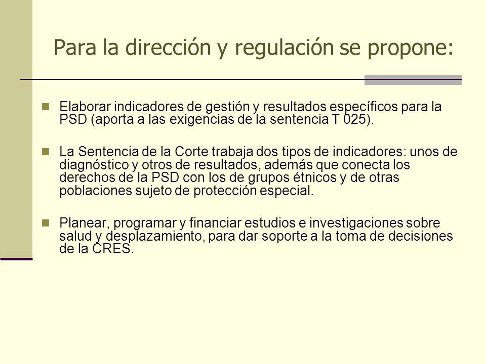 Para la dirección y regulación se propone: Elaborar indicadores de gestión y resultados específicos para la PSD (aporta a las exigencias de la sentenc