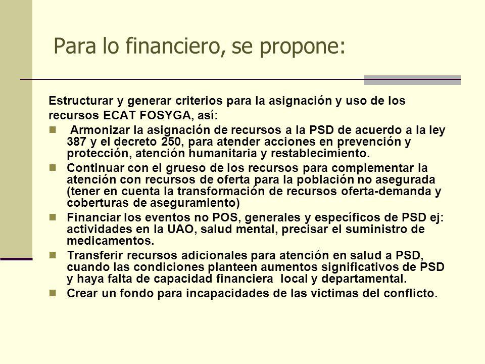 Para lo financiero, se propone: Estructurar y generar criterios para la asignación y uso de los recursos ECAT FOSYGA, así: Armonizar la asignación de