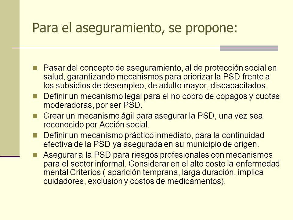 Para el aseguramiento, se propone: Pasar del concepto de aseguramiento, al de protección social en salud, garantizando mecanismos para priorizar la PS