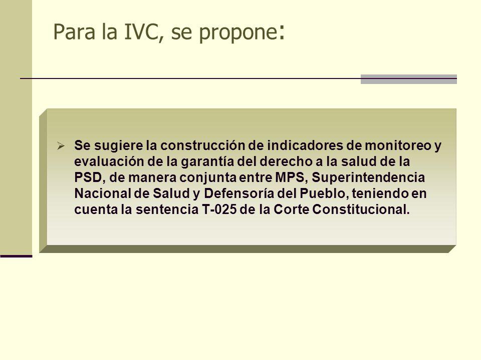 Para la IVC, se propone : Se sugiere la construcción de indicadores de monitoreo y evaluación de la garantía del derecho a la salud de la PSD, de mane