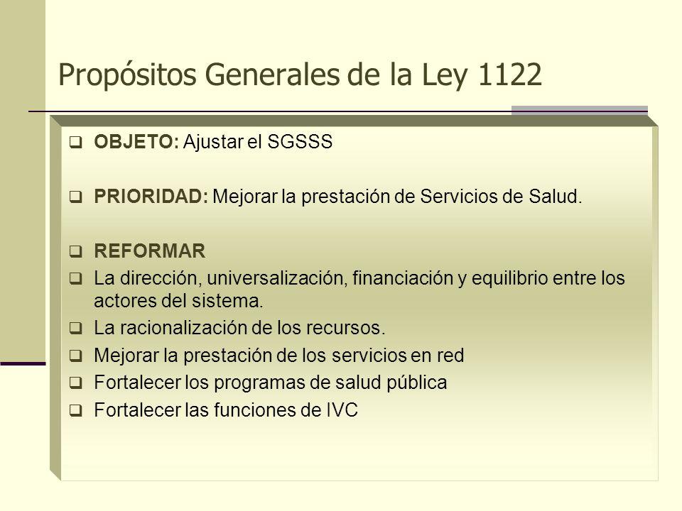 Propósitos Generales de la Ley 1122 OBJETO: Ajustar el SGSSS PRIORIDAD: Mejorar la prestación de Servicios de Salud. REFORMAR La dirección, universali