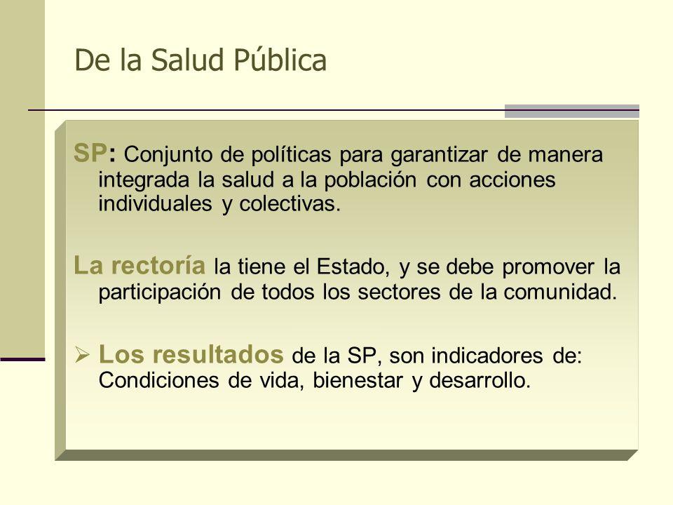 De la Salud Pública SP: Conjunto de políticas para garantizar de manera integrada la salud a la población con acciones individuales y colectivas. La r
