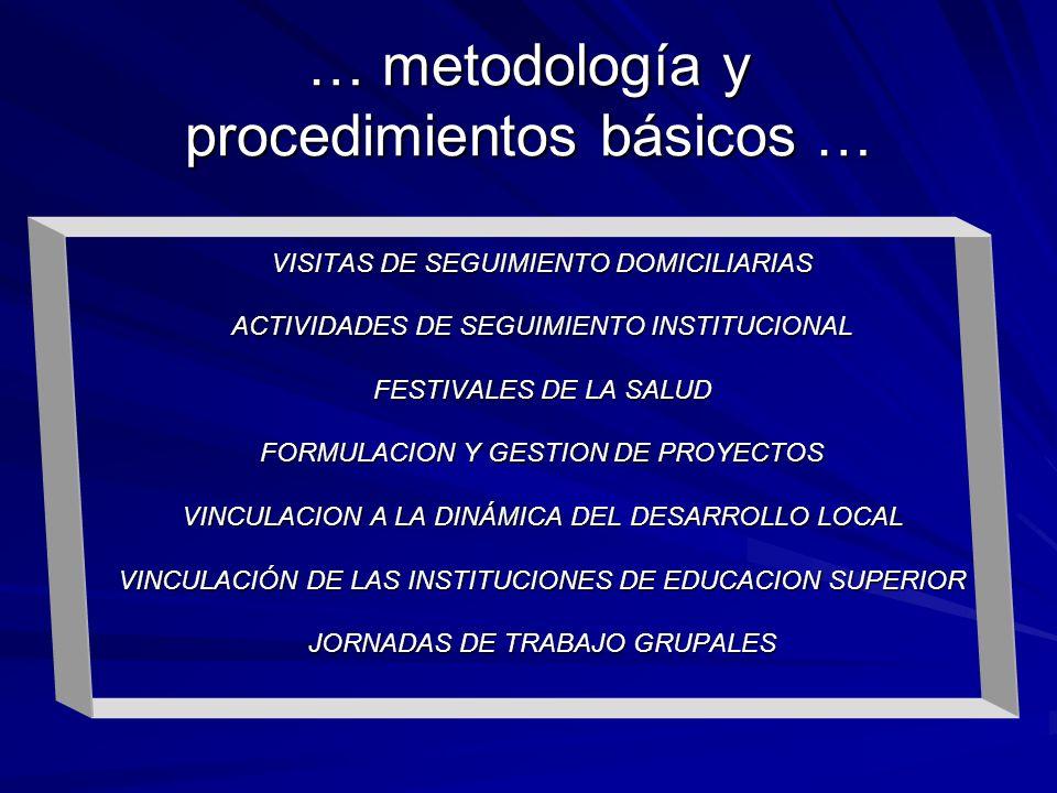 VISITAS DE SEGUIMIENTO DOMICILIARIAS ACTIVIDADES DE SEGUIMIENTO INSTITUCIONAL FESTIVALES DE LA SALUD FORMULACION Y GESTION DE PROYECTOS VINCULACION A