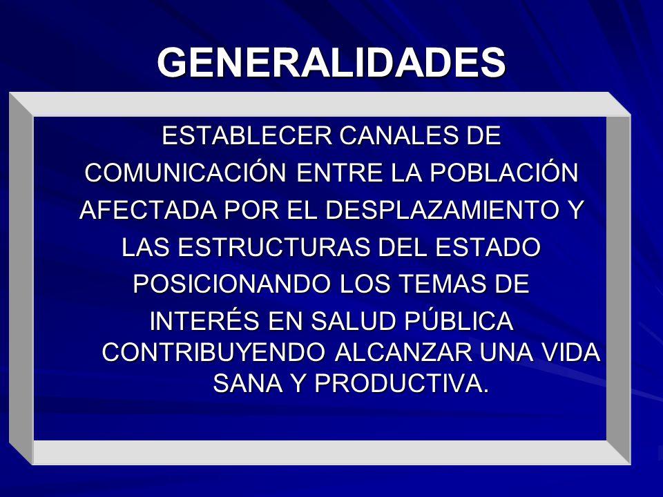 GENERALIDADES ESTABLECER CANALES DE COMUNICACIÓN ENTRE LA POBLACIÓN AFECTADA POR EL DESPLAZAMIENTO Y LAS ESTRUCTURAS DEL ESTADO POSICIONANDO LOS TEMAS