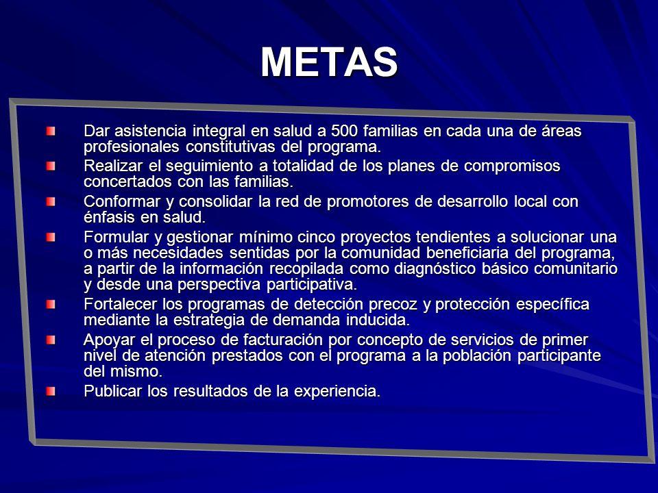 METAS Dar asistencia integral en salud a 500 familias en cada una de áreas profesionales constitutivas del programa. Realizar el seguimiento a totalid
