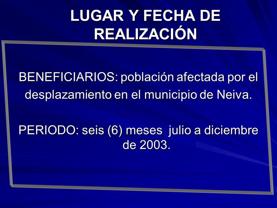 BENEFICIARIOS: población afectada por el desplazamiento en el municipio de Neiva. PERIODO: seis (6) meses julio a diciembre de 2003. LUGAR Y FECHA DE