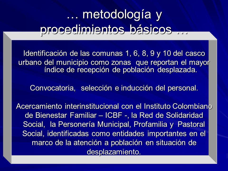 Identificación de las comunas 1, 6, 8, 9 y 10 del casco urbano del municipio como zonas que reportan el mayor índice de recepción de población desplaz