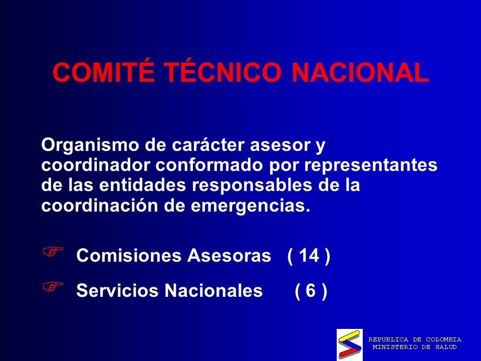 COMITÉ TÉCNICO NACIONAL Organismo de carácter asesor y coordinador conformado por representantes de las entidades responsables de la coordinación de emergencias.