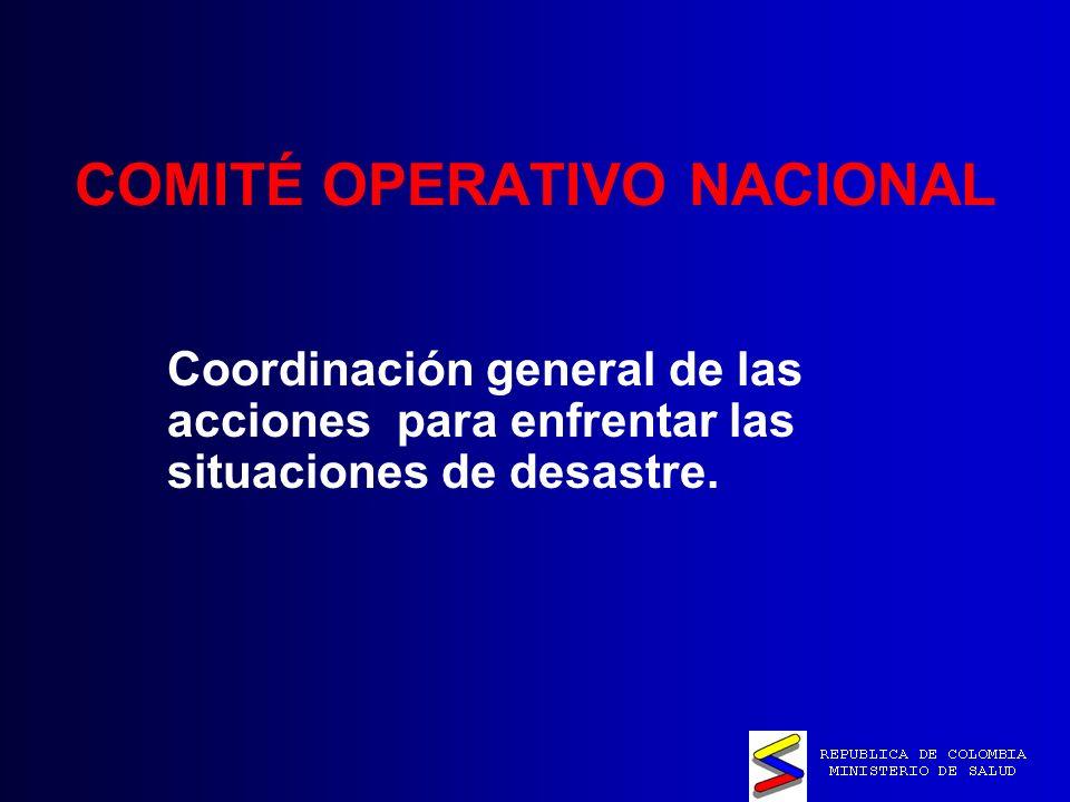 COMITÉ OPERATIVO NACIONAL Coordinación general de las acciones para enfrentar las situaciones de desastre.